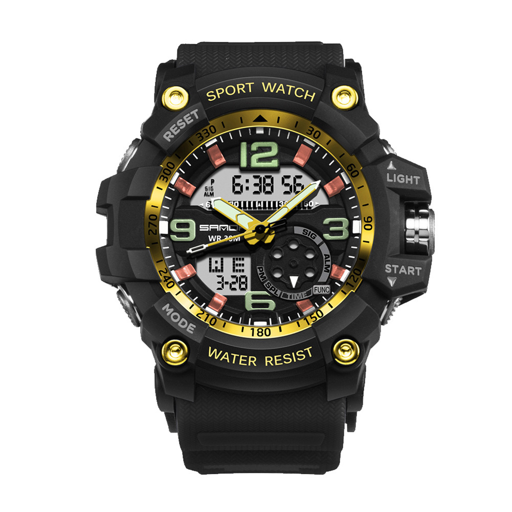 Digital Analog Dual Time Sport Watch Zones Calendar Chronograph Military Resin Wrist Watch Men 33
