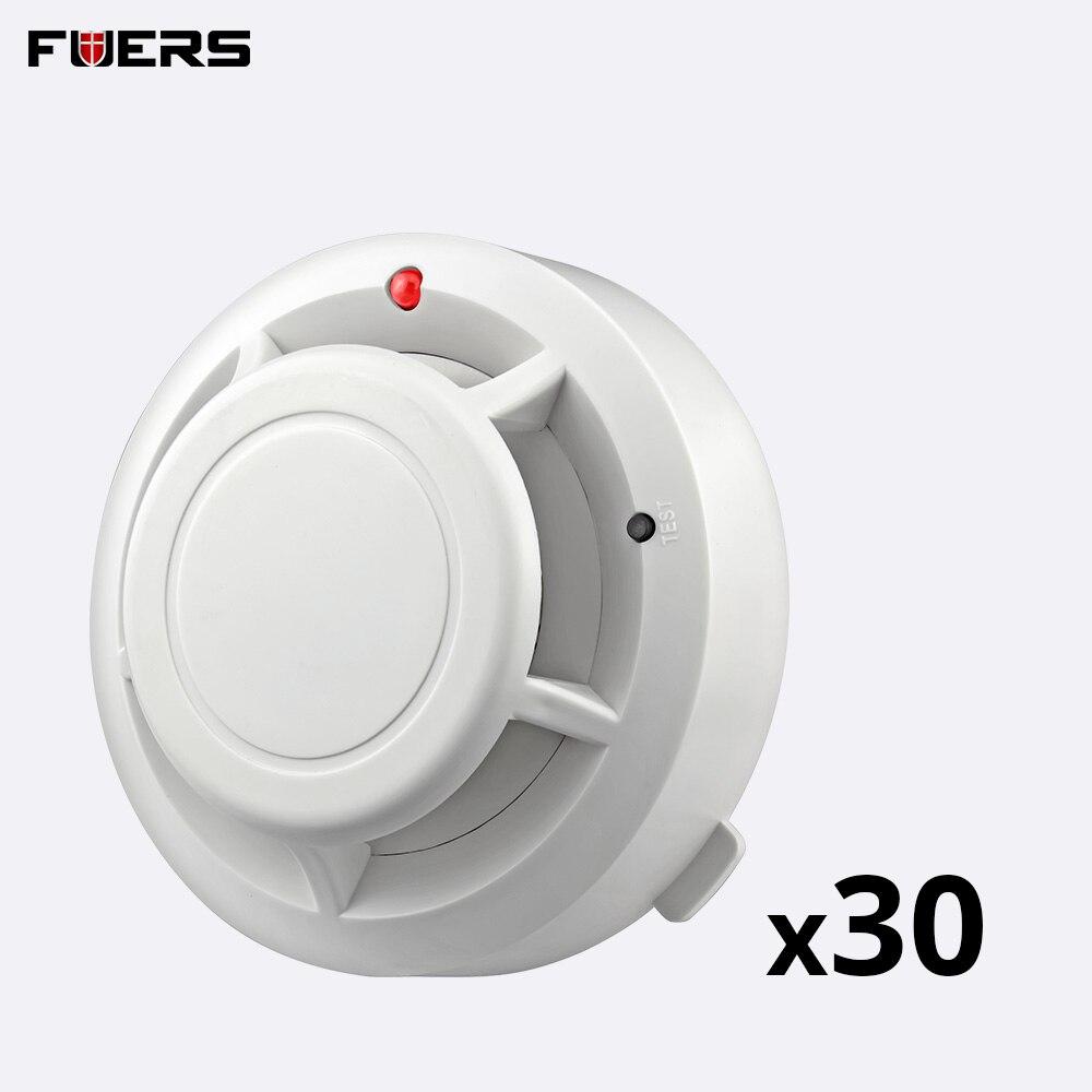 FUERS 30Pcs Wireless Alarm Smoke Fire Detectors Home Security Protection Smoke Fire Alarm Detectors Sensors Kit Work Alone
