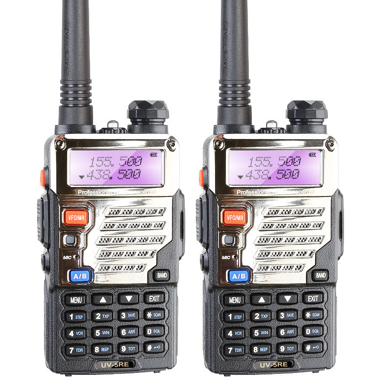 2PCS Original 5W BAOFENG UV 5RE Black Portable Security Police Transceiver Free Headset