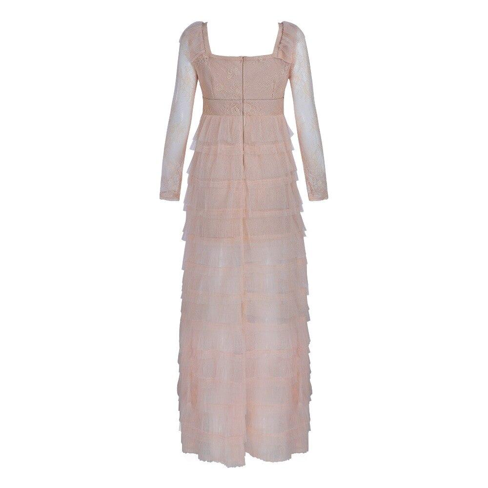Nouveau été 2018 robe bandage femmes luxe V abricot profond évider robes en dentelle, soirée à manches longues tricot