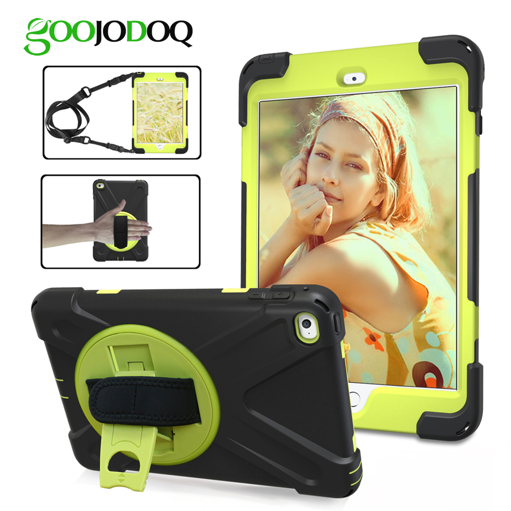 GOOJODOQ Kids Case for iPad 10.5 with Stand Hand Shoulder Strap Shockproof Silicone Cover for iPad 10.5 Case Children 360 Degree protective pc back case w 360 degree rotation hand strap holder for ipad 3 4 white