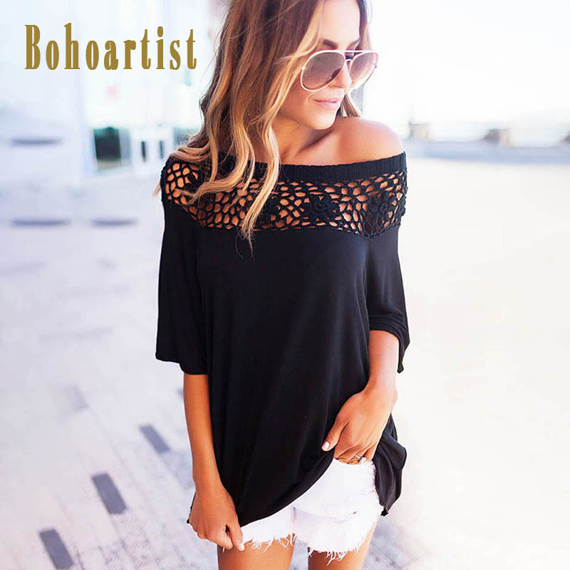 Bohoartist Off Shoulder Women T Shirts Lace Patchwork Solid Tops Three Quarter Hollow Tees Fashion Ladies Casual Shirts 2018