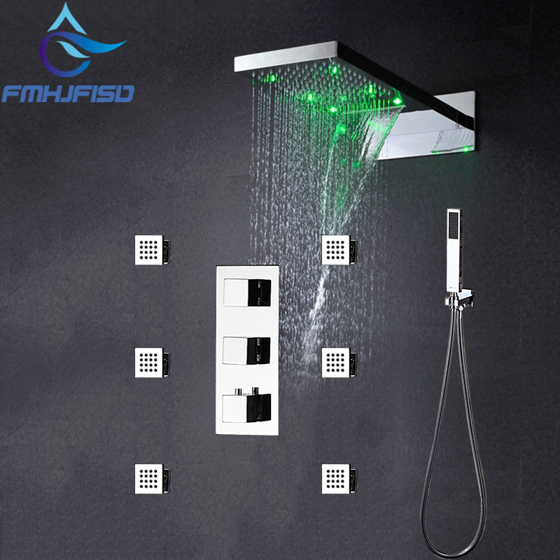 Wholesale And Retail Promotion NEW Thermostatic LED Waterfall Shower Faucet Set Massage Jets With Tub Mixer Tap цена 2017