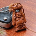 1 pc New Fashion carved wood Maitreya Buddha keychain keyring chaveiro findings for keys car pendant wholesale