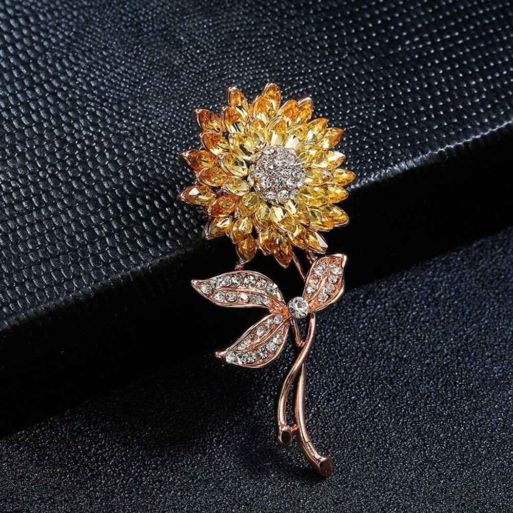Halus Bros Paduan Perak Kristal Biru Cantik Bunga Matahari Bros Pin untuk Wanita Aksesoris Pakaian Gesper Pin untuk Pria Perhiasan