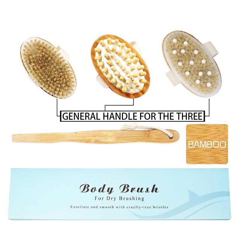 4pcs/set Bamboo Body Massage Brush White Pig Bristles Rubber Massage Head Bathroom Body Brush