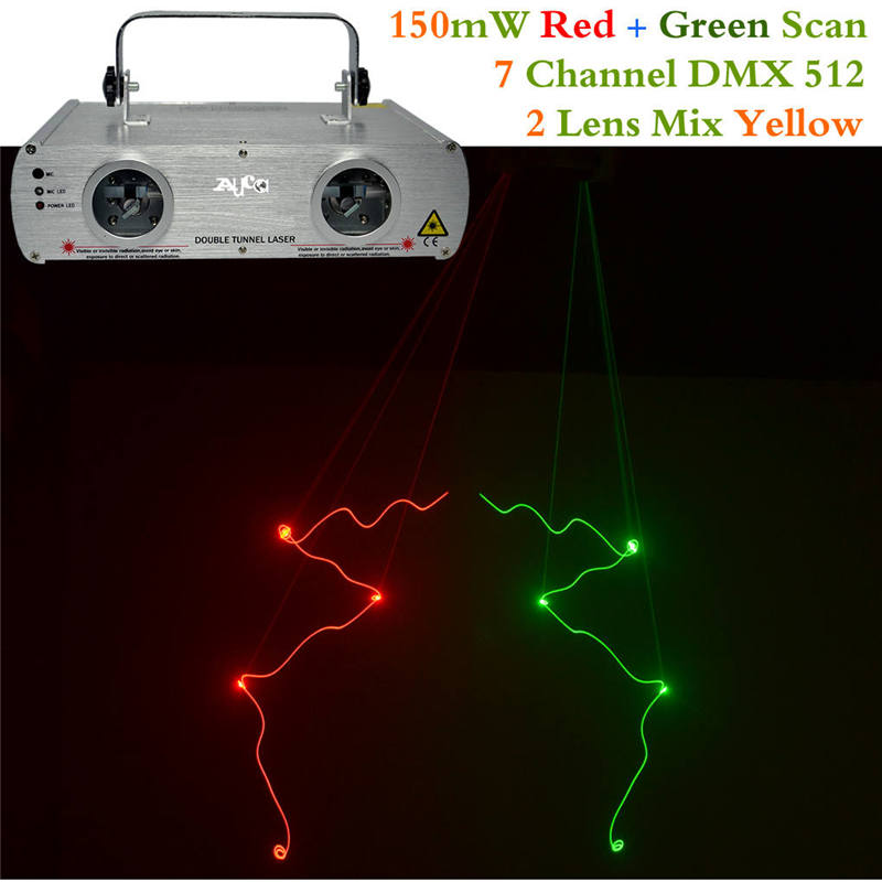 AUCD DMX 7 CH 2 Lens Scan Red Green Laser Lights Beam Master-Slave LED Pro Party DJ KTV Projector Bar Show Stage Lighting DL-22 statement hollow out hoop earrings