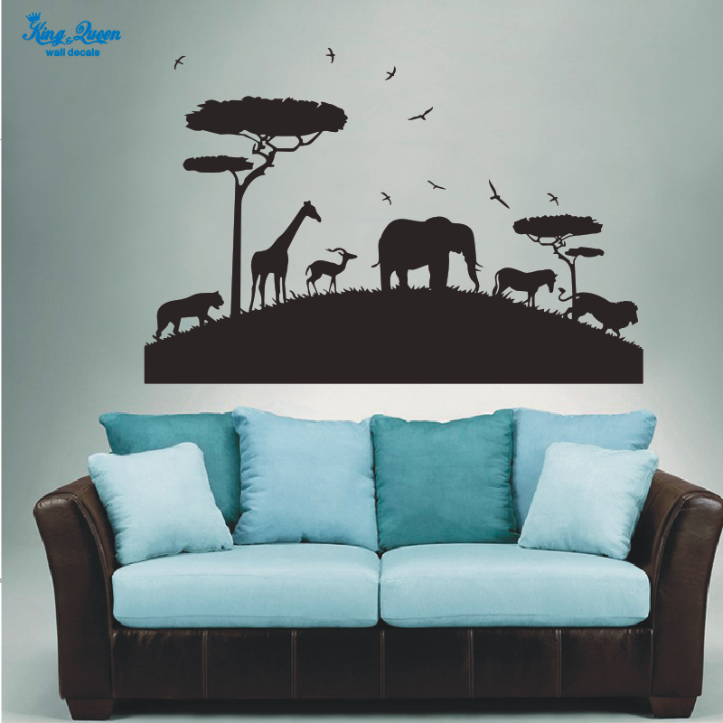 African Safari Wall Sticker Animals Kids Wall Art Decal Home Decor Stikers For Wall Decoration Vinyl