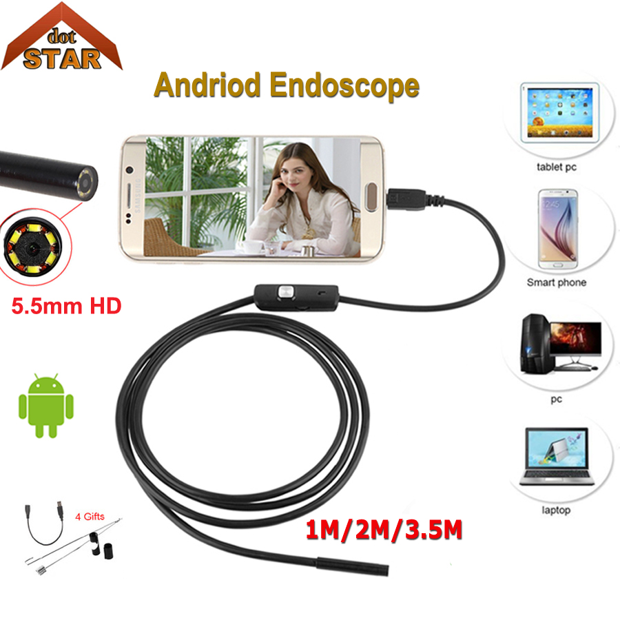 Stardot 5.5mm USB Endoscope Inspection Android Endoscope Mini Mini Endoscopio Camera android endoscope waterproof Camera 7mm lens mini usb android endoscope camera waterproof snake tube 2m inspection micro usb borescope android phone endoskop camera