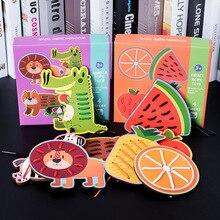 Детские деревянные животные фрукты шнуровка карты игры игрушки резьба струны головоломки Монтессори обучающая игрушка со шнурками