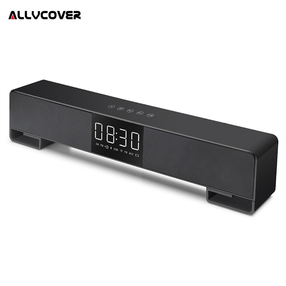 Allvcover Wireless Stereo Speakers Radio Alarm Clock Bluetooth Portable Music Speaker 3D Bar Soundbar Subwoofer With LCD Screen exrizu ms 136bt portable wireless bluetooth speakers 15w outdoor led light speaker subwoofer super bass music boombox tf radio