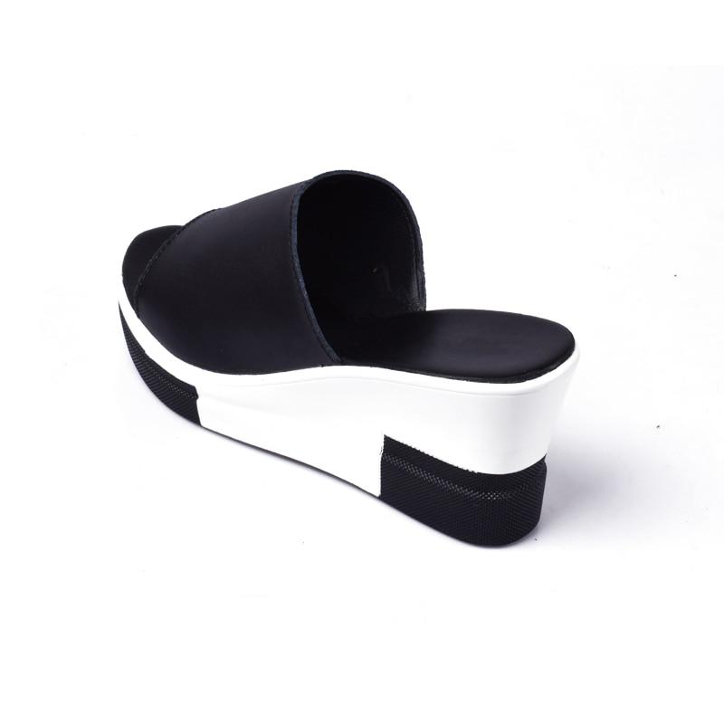 Cuñas Toe Mujer Huanqiu Jh152 Mujeres Señoras De 2018 Verano blanco Plataforma Zapatos Moda Toboganes Sandalias Peep Negro Cuero 8r8Aq60wx