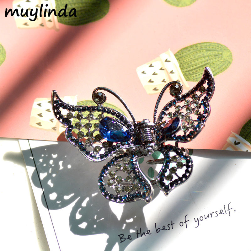 New Arrival Retro Crystal Butterfly Hair Claw Hair Clips Gun Black Plating Women Fashion Hair Ornaments