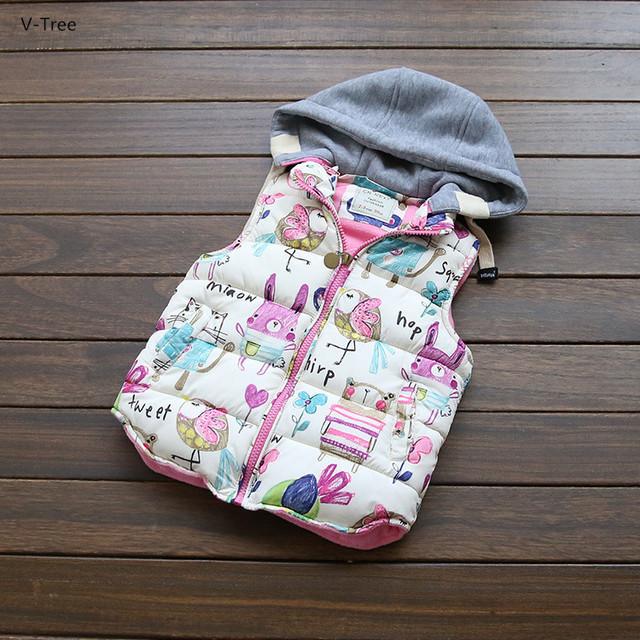 Outono Inverno Meninas Graffiti Coletes À Prova de Outerwear Crianças casaco Acolchoado Com Capuz Lã de Carneiro Colete Jaqueta Bebê Crianças Grosso Casaco Quente