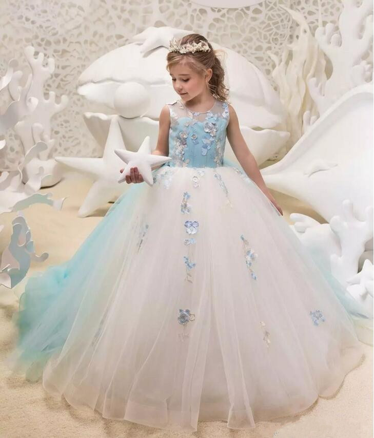 Princess Two Colors Ivory and Light Sky Blue Girls Pageant Dresses Jewel Neck Lace Tulle Corset Back Flower Girl Dress Ball Gown underwire two piece flounce corset dress