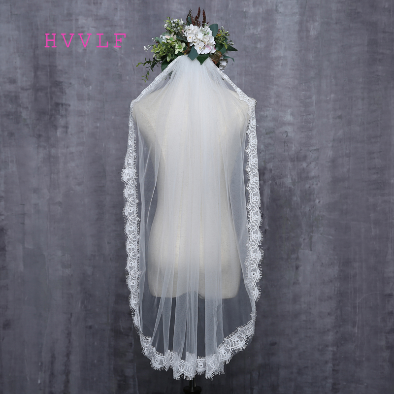 Romantic White Ivory Short Wedding Veils With Comb Bridal