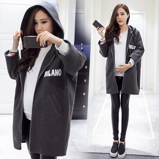 2016 new autumn and winter maternity long loose hooded wool coat was thin zipper coat