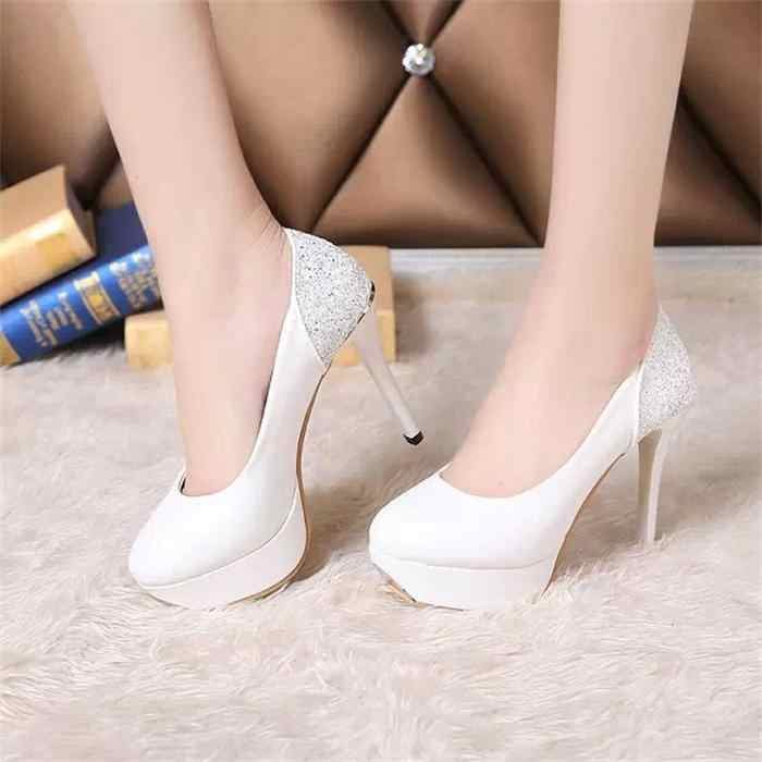 Sexy Women High Heels Shoes White Bridal Ladies Heels Spring Women Pumps  Single Party Sweet Shoes 101707ea27d2