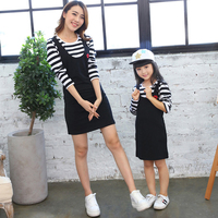 Hot Mother Daughter Dresses Long Sleeve Striped Mommy And Me Clothes Embroidery Spring Summer Family Look