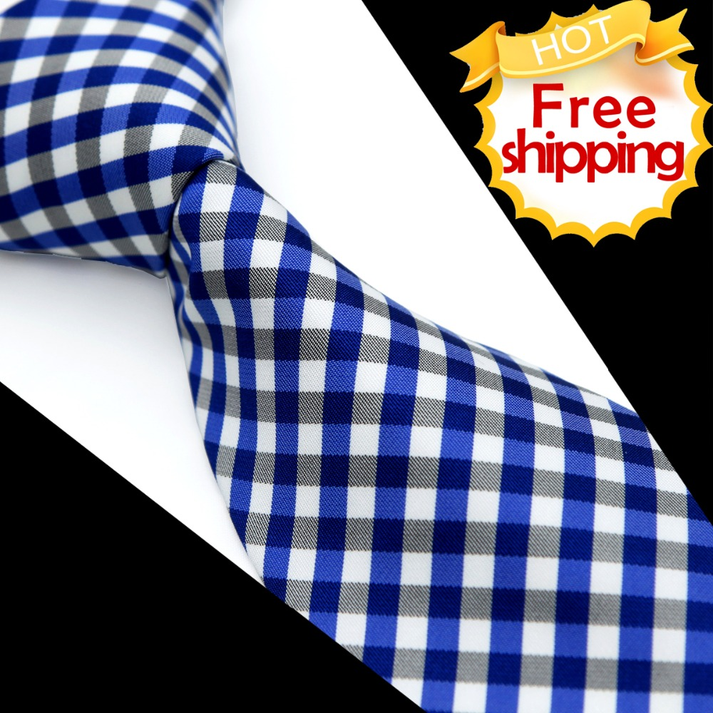 Men's Ties Neckties Checked Navy Blue White 100% Silk Jacquard Woven Casual Business Formal Wholesale Suit Gift For Men
