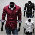 Free shipping 2016 New Fashion Casual Men's Shirts Turn Down Long-Sleeve Handsome Type Packet Shirt in stock wholesale
