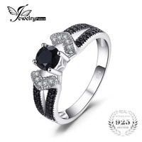 JewelryPalace Elegant 0 8ct Natural Black Spinel Wedding Bands Rings For Women Genuine 925 Sterling Silver