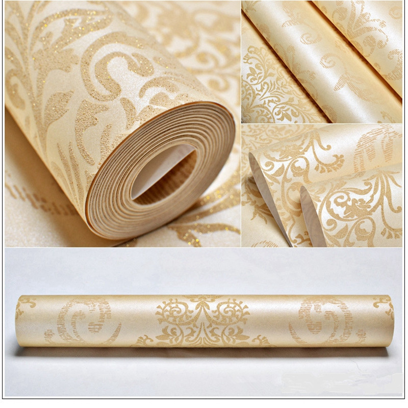 3D wallpapers European Luxury Floral Wallpaper Roll Embossed Gold Wallpaper Living Room Wallpaper Roll Desktop Decor Wall Paper beibehang european luxury diamond crystal 3d wallpaper flocking non woven wallpaper roll living room tv wall paper roll floral