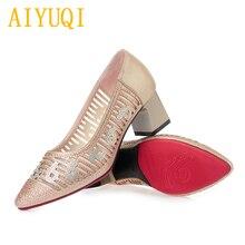 Купить с кэшбэком AIYUQI summer shoes women 2019 spring new genuine leather women's shoes, pierced rhinestone pointed banquet fashion shoes women