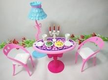 Обеденный Стол Toys Furniture for Barbie Doll с Лампой, стол, Стулья, Свечи, Тарелки с Едой и Посуда