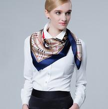 90x90 cm écharpe dame femmes carré sergé plaine Satin de soie foulards collier de luxe marque Rayé Col Châle femme infinity bandana(China (Mainland))