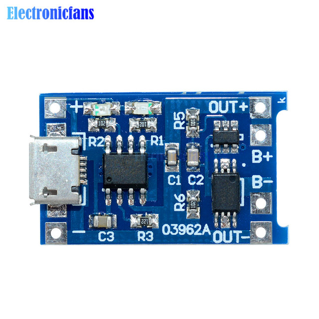 Automatic Protection! 2PCS Micro USB 5V 1A 18650 TP4056 Lithium Battery Charger Module Charging Board With Dual Functions