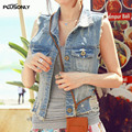 Ripped Denim Vests Women 2017 New Casual Short Style Turn-down Collar Single Breasted Hole Sleeveless Vest Blue JRSJ05