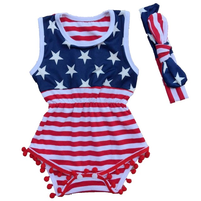 d3811708b2fa Baby Girl fourth of july outfits Independence Day summer Romper newborn girl  4th of july baby july 4th outfit set star print