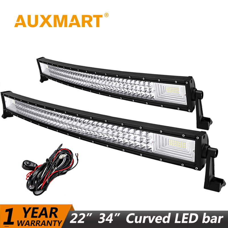 Auxmart 22 324W Curved LED Light Bar 34 486W Offroad Driving LED Work Light Lamp Working Combo Beam SUV ATV 4x4 LED 12v 24v auxmart triple row 22 34 42 50 curved