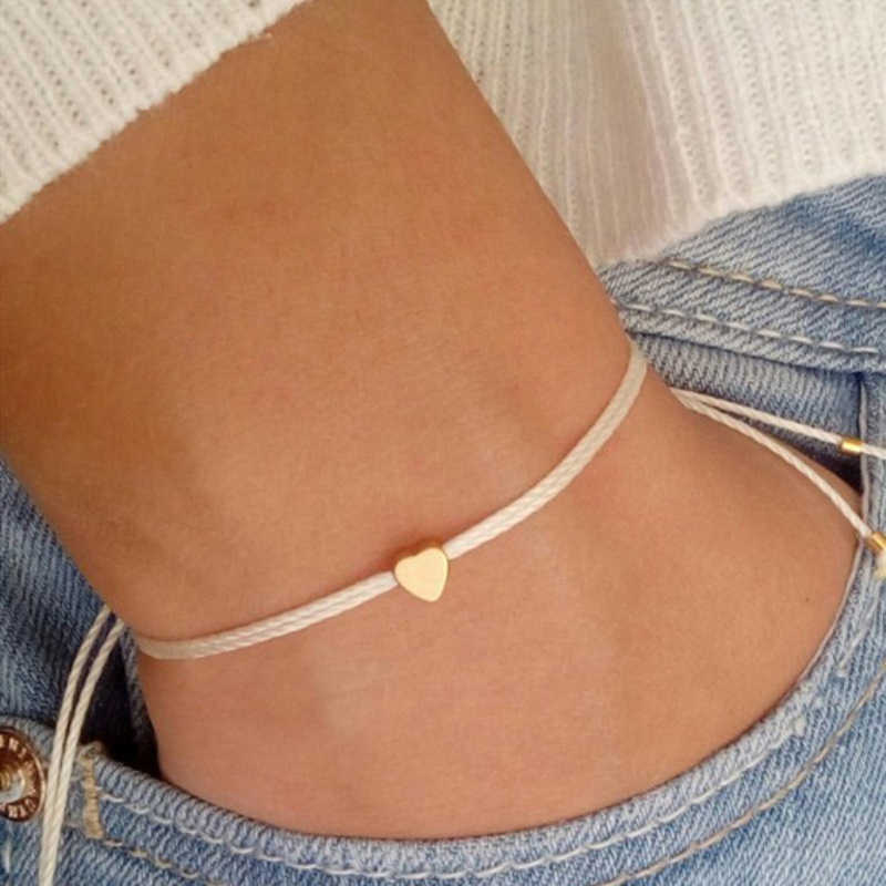 Handmade Korean Beige Rope Bracelet Men Adjustable Minimalist String Heart Bracelet Women Jewelry