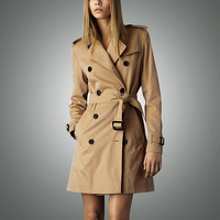 Hot Sale 2016 Spring Autumn Brand Casual Trench Coat For Women Plus Size Long Double Breasted