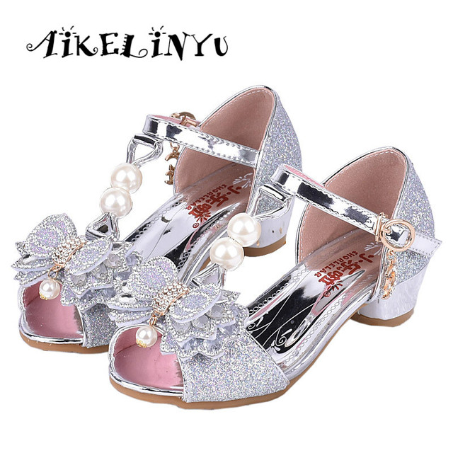 afdd960609 US $16.19 40% OFF|Girls Pink Sandals 2019 Summer New Children Fashion High  Heel Pearl Shoe Girls Princess Butterfly Sandals Kids Party Shoes Girls-in  ...