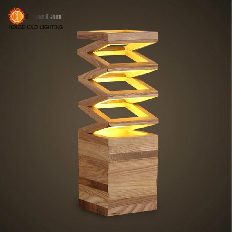 madera de lectura lmpara de estudio lmpara de mesa de madera slida de la vendimia saln loft lmpara foyer envo gratis en led lmparas de mesa de luces - Lamparas De Madera