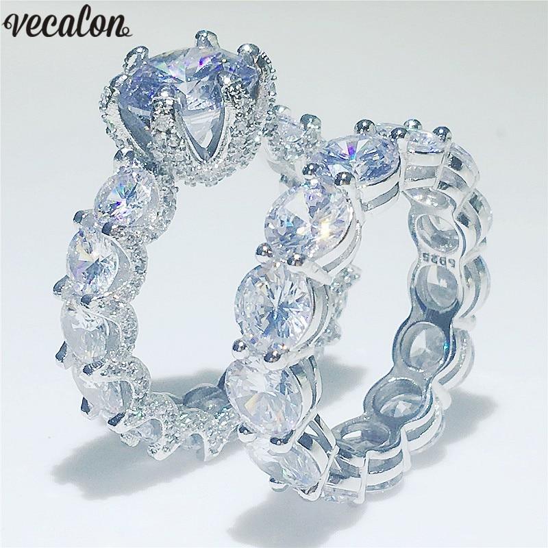 Vecalon Liebhaber Vintage Versprechen Ring set 925 Sterling silber 5A Zirkon Cz Engagement Hochzeit Band ringe für frauen Braut Schmuck