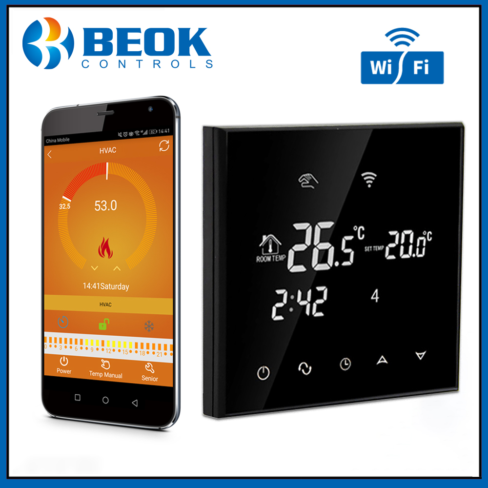 Beok 220V WiFi Thermostat Warm Floor for Electric Floor Heating Smart Home Digital Thermostat Voice Comtrol by Google Alexa