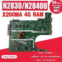 REV2.1 X200MA Motherboard Para ASUS F200M X200M X200MA Laptop motherboard Mainboard N2830 N2840 4G RAM|Placas-mães|Computador e Escritório -