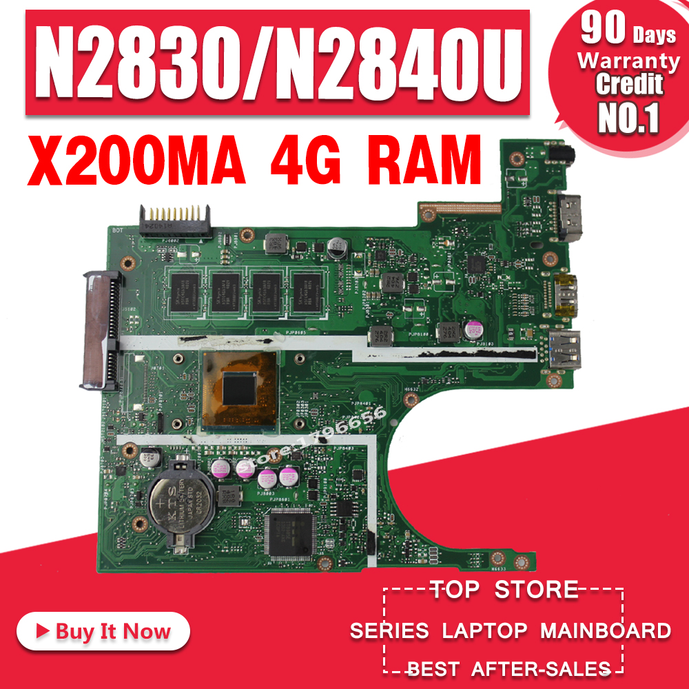 X200MA Motherboard REV2.1 For ASUS F200M X200M X200MA Laptop Motherboard Mainboard N2830 N2840 4G RAM