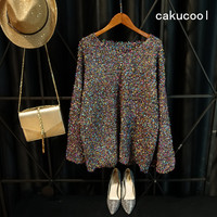Cakucool Gold Lurex Knit Tops Women Long Flare Sleeve V Neck Autumn Jumpers Silver Furry Loose Knit Pulloer Sweater Jumper Women