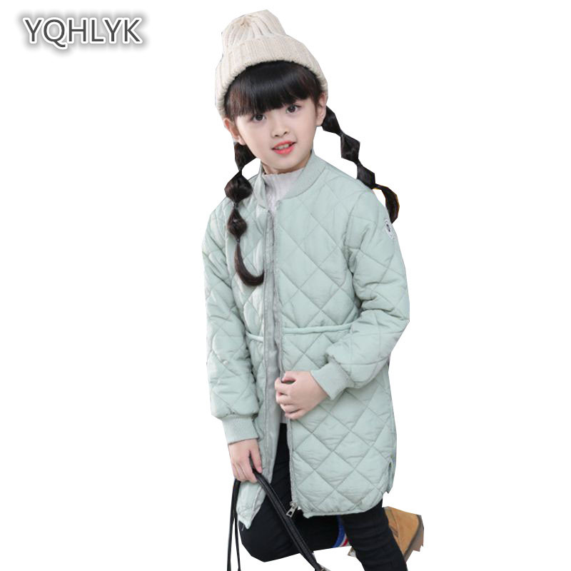 цены Children's Autumn Winter Girl coat Fashion Stand Collar Warm Cotton Jacket Girl Casual Cotton Long Parkas Kids Outerwear & Coats