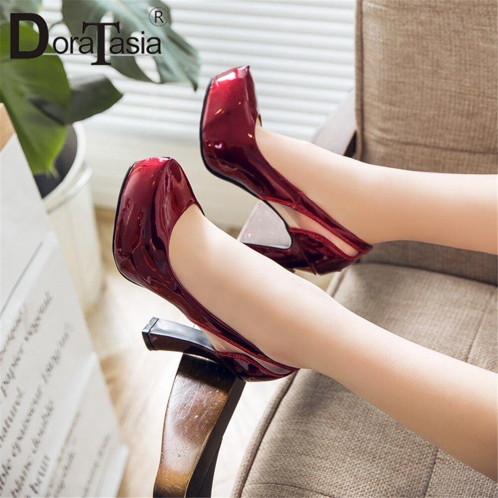 DORATASIA Elegant Shoes Wedding-Pumps Platform Slip High-Heels Big-Size on Solid Woman