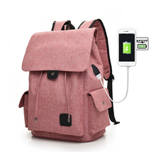Usb Charging Backpack Women Casual Oxford Large Capacity Woman Travel  Lady Solid Black School Bags Purses