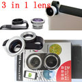 Universal Cellphone Clip Fisheye + Macro lens + Wide Angle 3 in 1 lens for iphone 4 4s 5 5s 6 plus ipad Samsung,10pcs/lot