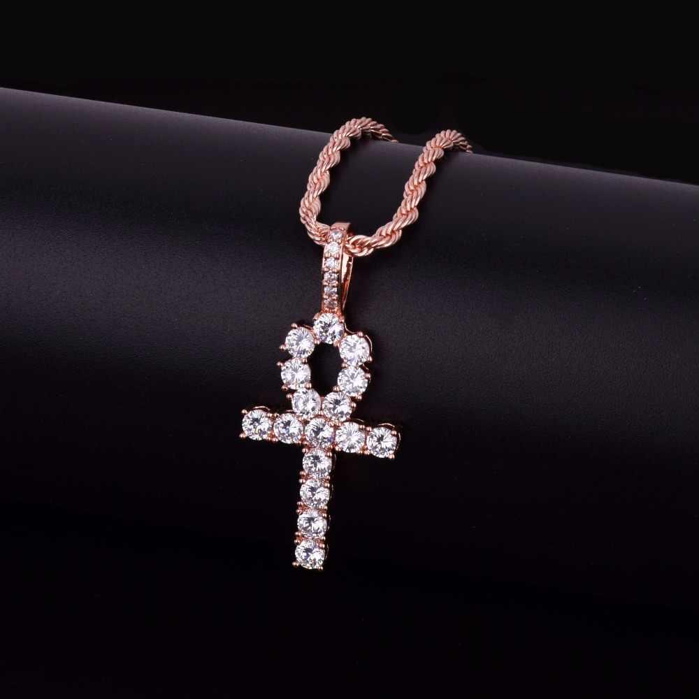 Iced cyrkon Ankh krzyż wisiorek złoto srebro miedź materiał CZ egipski klucz życia wisiorek naszyjnik mężczyźni kobiety Hip Hop biżuteria