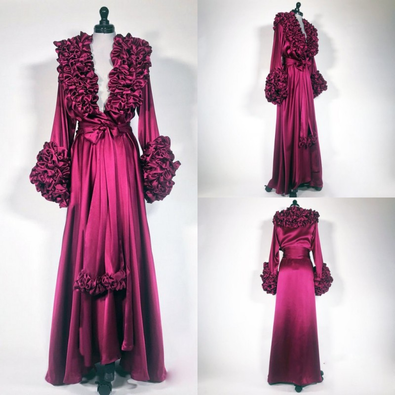 Gorgeous Burgundy Night Robe Custom Made Silk Long Sleeve Tiered Ruffles Party Sleepwear Sexy Nightgowns Robes