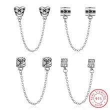 AZIZ BEKKAOUI Véritable 925 En Argent Sterling Belle Chaîne de Sécurité Perles Fit Original Pandora Bracelet Exquis Argent BRICOLAGE Bijoux